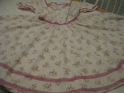Lavender And Beige Floral Print Square Dance Dress, Handmade, Small