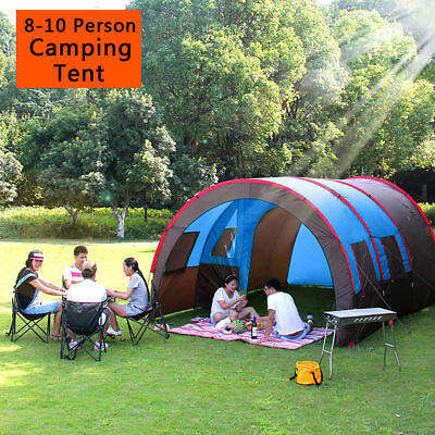 8-10 Person Waterproof Tunnel Tent Camping Outdoor Party Family Travel Hiking UK