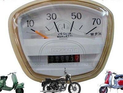 LAMBRETTA SX TV SPEEDOMETER 70 MPH VEGLIA ITALIAN THREADED @AEs