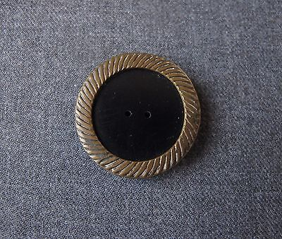 Antique 1930's Art Deco Striped Solid Brass Rim Black Galalith Large Button