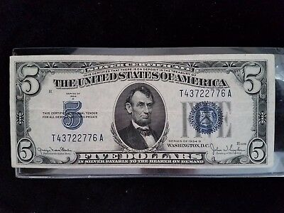 """""""Extremely Fine"""" 1934-D Five Dollar Silver Certificate $5.00 Vintage USA Cash"""