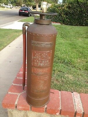 """Antique Copper Fire Extinguisher O. J. """"Childs"""" Co. 2 1/2 Gal. Los Angeles"""