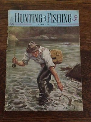 Vintage Hunting and fishing Magazine April 1937 Cool Cover !!