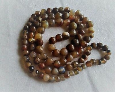 antique vintage natural stone agate bead necklace threaded on chain