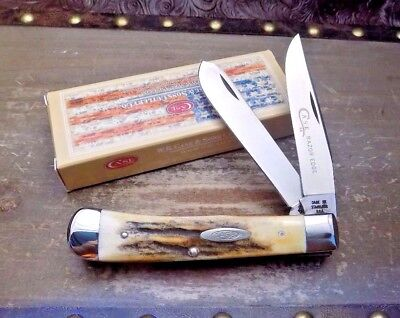 Vintage 1976 Case Xx Usa Gorgeous Fat Stag Razor Edge Trapper Knife;nr