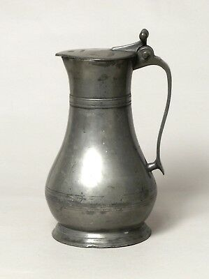 ATTRACTIVE LARGE ANTIQUE 18thC GUERNSEY PEWTER TANKARD MEASURE A. CARTER