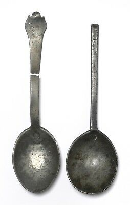 Antique 17Thc Pewter Slip Top Spoon And A Trefid Spoon Both With Touch Marks
