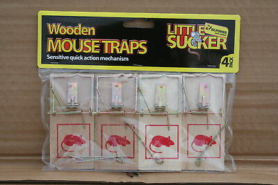Wholesale stock job lot 4 pack Traditional wooden mouse trap x 8 Packs