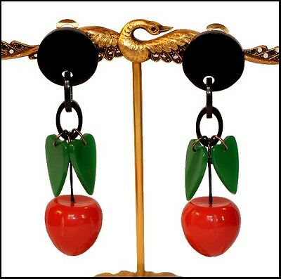 French Resin Huge Dangling Clip On Carved Red Strawberry Fruit Earrings