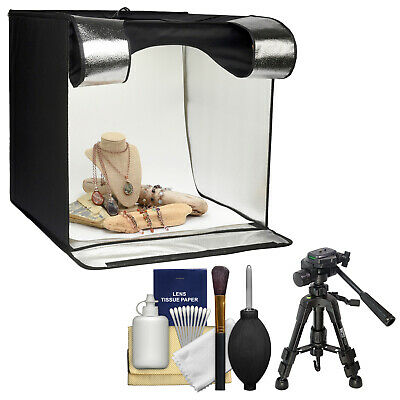 "Smith-Victor 15.5"" Desktop LED Light Box Studio Tent Turntable 4 Background Case"