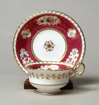 UNUSUAL EARLY MINTON PORCELAIN TEA CUP AND SAUCER c.1840, pat. 630.