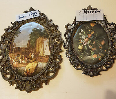 Two vintage beautiful ornate Italian silk picture in oval brass frame.