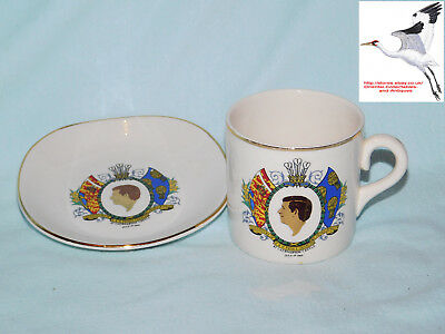 Prince Charles Investiture Plate & Cup/Mug 1.7.69 Weatherby Durability Falcon