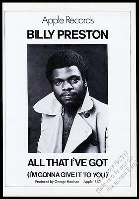 1970 Billy Preston photo All That I've Got record release vintage trade print ad