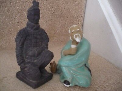Two  Superb Japanese Figures A Samurai Warrior And A Wise Man A Great Pair