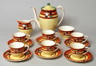 Wonderful Antique Art Deco Crown Ducal Pottery Coffee Service Complete