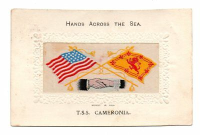 WOVEN IN SILK NOVELTY PC, RMS CAMERONIA, CUNARD LINE, 2 FLAGS & HANDS used 1914