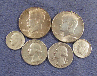 Lot 6 Us Silver Coins 1964 & 1964 Kennedy Half Dollars 1955 & 1963 Quarters