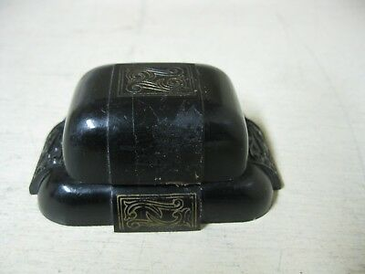 Vintage Black Plastic Dennison Ring Box
