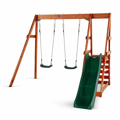 Plum® Tamarin Wooden Swing Set with Green Slide and Swings