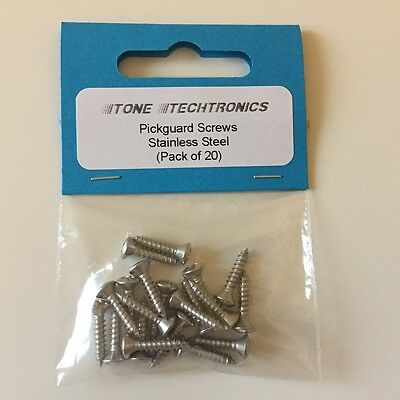 Pickguard / Scratchplate Screws For Electric Guitars, Stainless Steel Pack Of 20