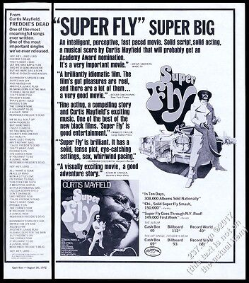 1972 Curtis Mayfield photo Super Fly album release vintage trade print ad