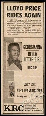 1957 Lloyd Price photo & The King Bees KRC Atlantic Records vintage trade ad