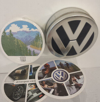 LOT (6) VW Volkswagen Collectible Coasters Tin Case 2004 Off the ROAD Club Gear