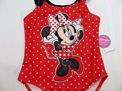 New GIrls Size 2T Swim Suit One Piece Mini Mouse Disney Red Polka Dots NWT's