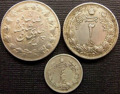 Persia, RezaShahPahlavi, Lot of 3 coins.