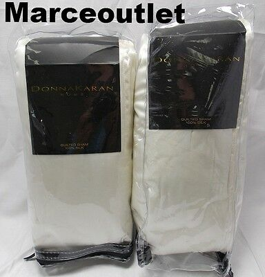 donna karan home reflection collection silk euro quilted shams set ivory
