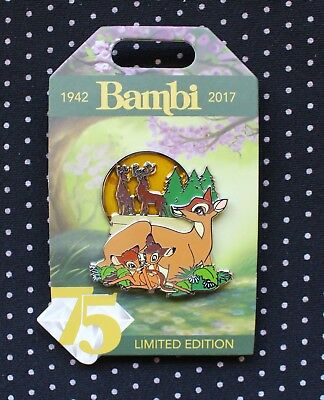 Disney Pin 75th Anniversary Bambi Faline and Mother 3D Pin on Pin LE