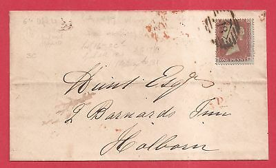 April 1854 Penny Red Star SC16 SG17 BB on cover/Envelope a1356