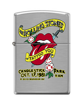 Zippo 1498, Rolling Stones-Tongue Logo, Candlestick-1981, Brushed Chrome Lighter