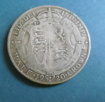 1920 King George V 1/2 Half Crown Silver Coin