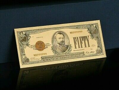 """☆MINT☆OLD STYLE """"GOLD""""$50.00 GOLD CERTIFICATE Fifty DOLLAR Rep.*Bank☆note W/COA☆"""