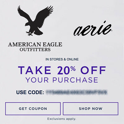 20% OFF American Eagle Outfitters & Aerie Promo Code Ex 10/30/17 Online/In Store