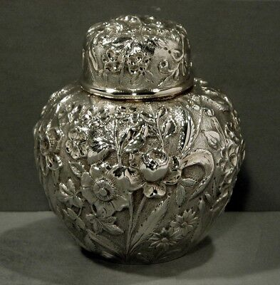 Jacobi & Jenkins Sterling Tea Caddy      c1900      * HAND DECORATED *