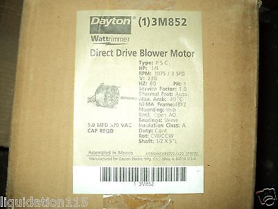 Dayton 3M852  Motor 1/4 Hp , 230 V , 3 Speed , 1075 Rpm , 48Yz , Psc Type