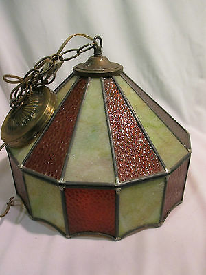 Vintage Leaded Glass Hanging Swag Lamp Light Fixture Amber And Ivory