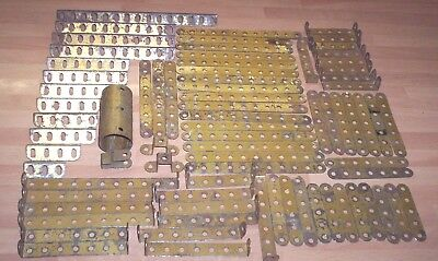 MECCANO VINTAGE GOLD COLOURED PARTS X 76 JOB LOT .. barn find