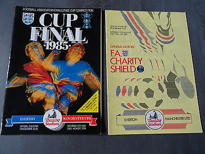 1985 FA Cup Final and FA Charity Shield Programmes - Everton v Manchester United
