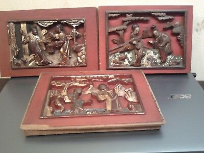 Antique  Set  Of  3  Hand  Carved  Wood  Chinese  Temple  Panels