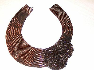 "Bugle Bead Neck Collar Bronze Beads Firy Leather by THETA 14"" Choker Org Owner"