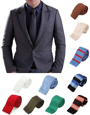 Men's Vintage Casual Solid and Pattern Waffle Knit Woven Square End Neck Tie