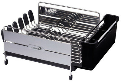MasterClass Deluxe Large Stainless Steel Dish Plate & Cutlery Drainer