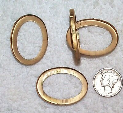 Vintage Brass Open Back Oval 22Mm X 30Mm Settings Mountings 14 Pieces