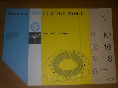 Ticket Olympic Games MÜNCHEN 1972 - GYMNASTICS 30.08.1972