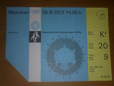 Ticket Olympic Games MÜNCHEN 1972 - BASKETBALL 28.08.1972