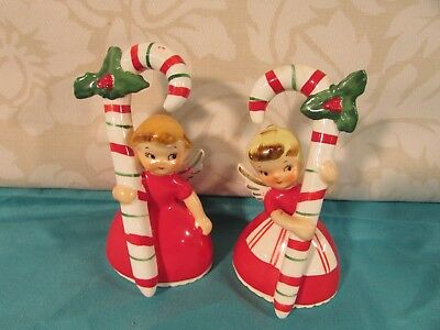 Set of 2 Vintage 1956 Napco Christmas Angel Bells w/ Candy Canes
